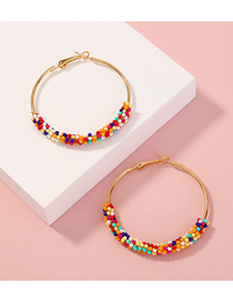 Fashion Color Mixing Rice Beads Round Bead Alloy Earrings