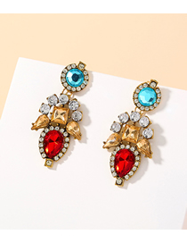Fashion Golden Geometric Alloy Earrings With Diamonds And Gems