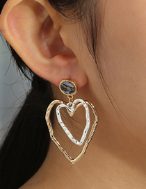 Fashion Color Mixing Abalone Double-layer Hollow Love Wave Earrings