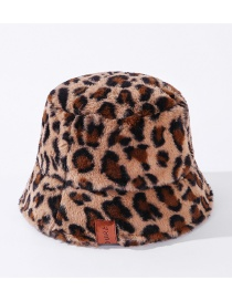 Fashion Coffee Leopard Plush Leather Label Leopard Print Fisherman Hat