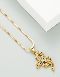 Fashion Golden Snake-shaped Pendant Necklace With Copper And Zircon