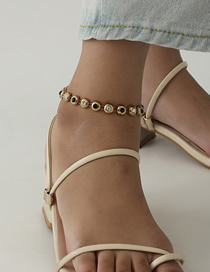 Fashion Golden Diamond And Beaded Gold-plated Anklet