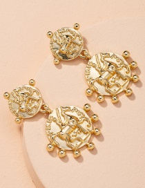 Fashion Golden Coin Embossed Alloy Round Earrings