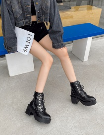 Fashion Black Martin Boots With Thick-soled Thick Heel Platform Belt Buckle