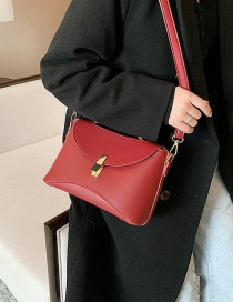 Fashion Red Wine Solid Color Single Shoulder Crossbody Bag With Lock Flap