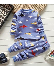 Fashion Aircraft 65/100 Are Recommended For Height 90 Wear Printed Plus Velvet Thick Milk Silk Childrens Thermal Underwear And Home Service Suit