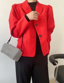 Fashion Red Double Breasted Loose Suit Jacket
