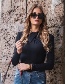 Fashion Black Knotted Bodysuit With Padded Neckline