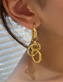 Fashion Gold Color Twisted Hemp Wreath Copper Gilded Earring