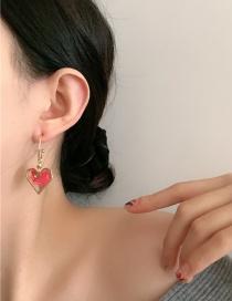 Fashion Red Epoxy Cellophane Detachable Double Love Earrings