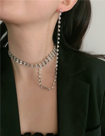 Fashion Silver Color Diamond Tassel One-piece Multi-layer Necklace Earrings