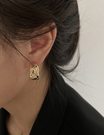 Fashion Gold Color Geometric Circle Texture Alloy Earrings