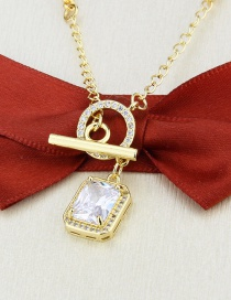 Fashion Gilded Gold-plated Square Zircon Ring Clasp Necklace