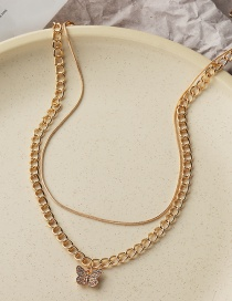 Fashion Gold Color Geometric Butterfly Diamond Alloy Multilayer Necklace