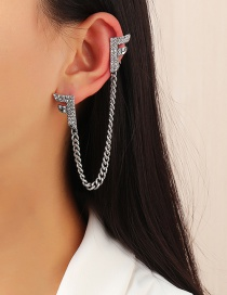 Fashion Silver Color Alloy Ear Clip With Tassel Letters And Diamond Chain