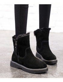Fashion Black Thick Round Toe Side Zipper Snow Boots