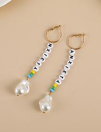Fashion White Alloy Pearl Resin Letter Beaded Earrings