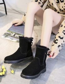 Fashion Black Thickened Warm Round Toe Mid-tube Snow Boots