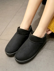 Fashion Black Short Boots And Velvet Round Toe Snow Boots