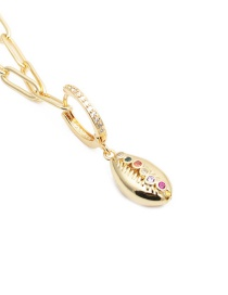 Fashion Shell Gold-plated Copper Necklace With Zircon Shells
