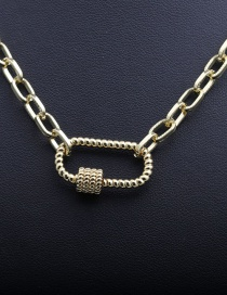 Fashion 50mm Chain+c Gold-plated Copper Necklace With Micro-inlaid Zircons