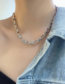 Fashion Silver Color Thick Chain Alloy Hollow Necklace