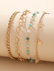 Fashion Gold Color Five-pointed Star Small Stone Thick Chain Multilayer Anklet