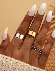 Fashion Color Mixing Chain Alloy Hollow Glossy Wide Edge Ring Set