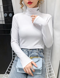Fashion White Embroidered Solid Color Turtleneck Slim Bottoming Shirt