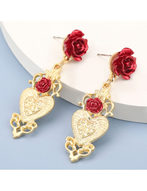 Fashion Red Heart Shaped Alloy Rose Earrings