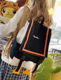 Fashion Black Duck Butt Flap Stitching Contrast Canvas Backpack