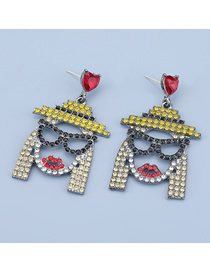 Fashion Yellow Face Alloy Acrylic Earrings With Diamonds