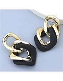 Fashion Black Resin Geometric Hollow Earrings