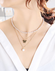 Fashion Gold Color Butterfly Pearl Alloy Multilayer Necklace