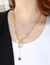Fashion Gold Color Alphabet Pearl Alloy Pendant Tassel Necklace