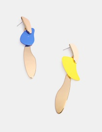 Fashion Color Mixing Alloy Irregular Asymmetric Contrasting Color Earrings