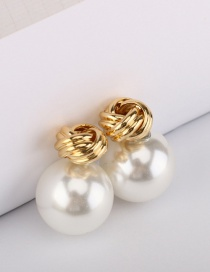 Fashion White Flower Knotted Pearl Round Alloy Earrings