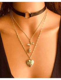 Fashion Gold Color Peach Heart Rose Flower Pendant Leather Cord Multilayer Necklace