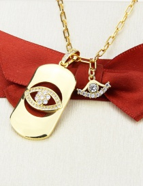 Fashion Gilded Gold-plated Eyes And Diamond Tag Necklace