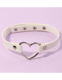 Fashion White Pu Leather Love Heart Alloy Hollow Geometric Necklace
