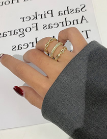 Fashion Three Layers Diamond Pig Nose Chain Braided Ring