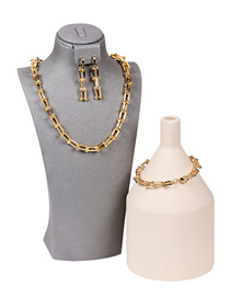 Fashion A Gold Color Suit U-shaped Stitching Thick Chain Necklace Set Bracelet And Earrings