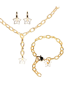 Fashion White Suit Thick Chain Drop Oil Five-pointed Star Earrings Necklace Bracelet Set
