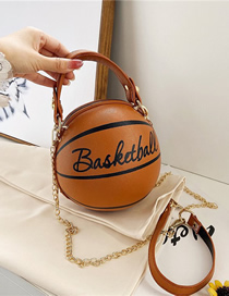 Fashion Yellow-brown Basketball Letter Print Chain Shoulder Messenger Bag