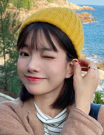 Fashion Yellow Solid Color Curled Knitted Woolen Hat