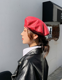 Fashion Red Leather Solid Color Stitching Beret