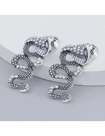 Fashion Silver Color Alloy Diamond Acrylic Bump Textured Cobra Earrings