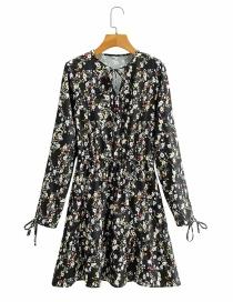 Fashion Printing Flower Print Lace V-neck Long Sleeve Dress