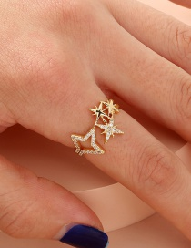 Fashion Gold Color Diamond Five-pointed Star Hollow Alloy Open Ring