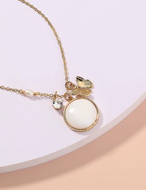 Fashion Butterfly Metal Butterfly Round Shell Necklace